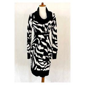 Calvin Klein Cowl Neck Pattern Sweater Dress